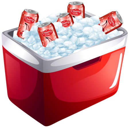 Cherry soda cans in ice box illustration