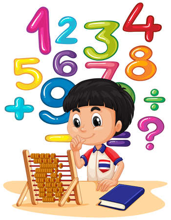 numbers clipart: Boy doing math with abacus illustration