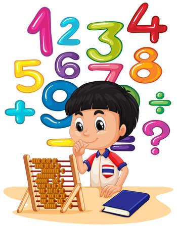 abaco: Muchacho que hace matemáticas con la ilustración del ábaco