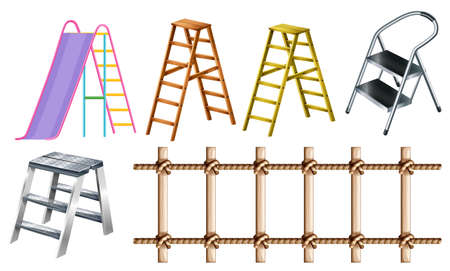 multiple image: Different types of ladders illustration