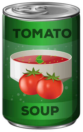 can: Tomato soup in aluminum can illustration