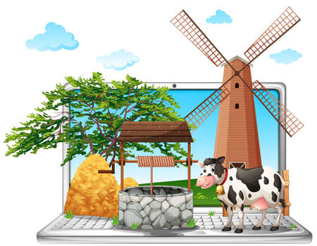 Cow and well on computer screen illustration Illustration