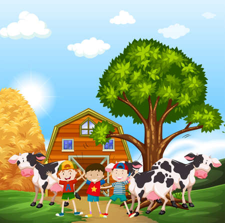 farmyard: Kids and cows in the farmyard illustration