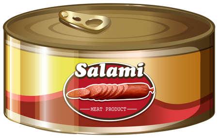 aluminum: Salami in aluminum can illustration Illustration