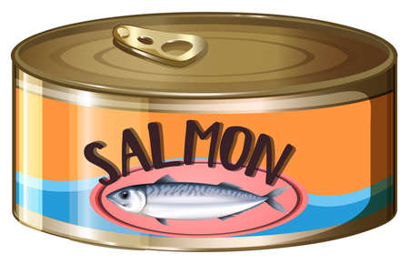 can: Salmon in aluminum can illustration