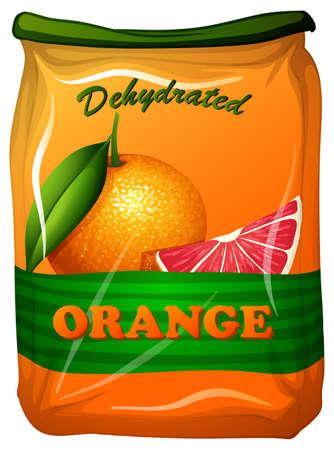Dehydrated orange in bag illustration