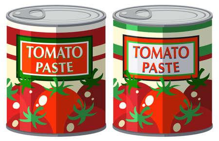 Tomato paste in aluminum can illustration
