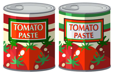 tomatoes: Tomato paste in aluminum can illustration
