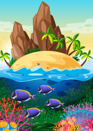 Scene with island and life underwater illustration