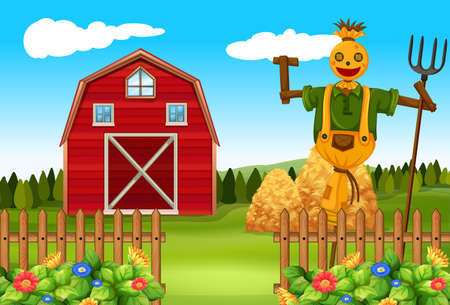 farmyard: Scarecrow in the farmyard illustration