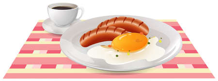 food dish: Breakfast with egg and sausages on table illustration