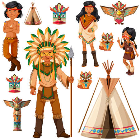 the totem pole: Native American Indian people and tepee illustration Illustration