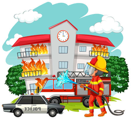 fire fighter: Fire fighter at fire scene illustration