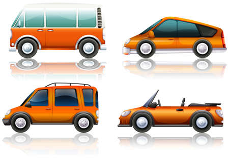 jeep: Transportation set in orange illustration