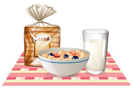 cereal: Conjunto del desayuno con pan y cereales ilustración