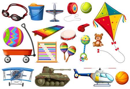 Set of toys and transportations illustration