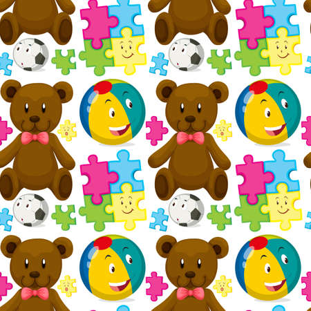 teddybear: Seamless background with teddybear and ball illustration