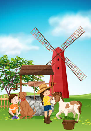 Kids and animals in the farmyard illustration