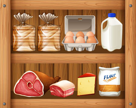 wooden shelf: Different kinds of food on wooden shelf illustration