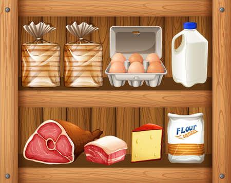 pantry: Different kinds of food on wooden shelf illustration