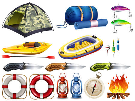 raft: Camping set with tent and other equipment illustration Illustration