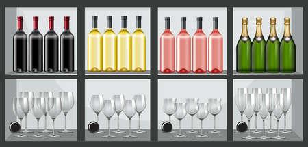 Regal voller Flaschen und Gläser Wein Illustration Vektorgrafik