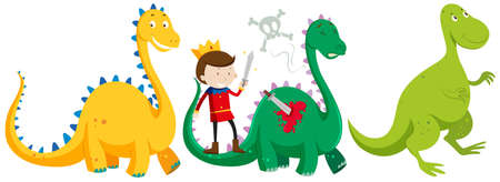 killing: Prince fighting and killing dragons illustration