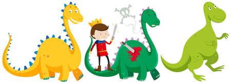 Prince fighting and killing dragons illustration