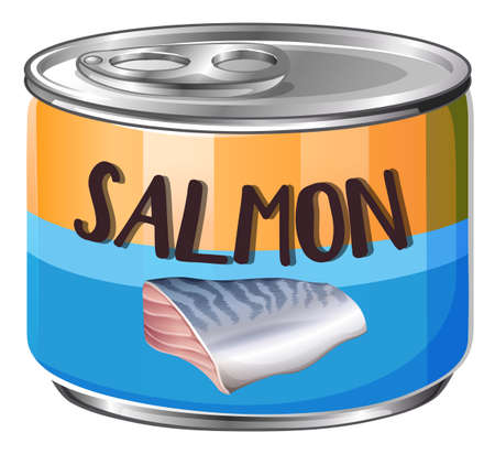 tin packaging: Salmon in aluminum can illustration