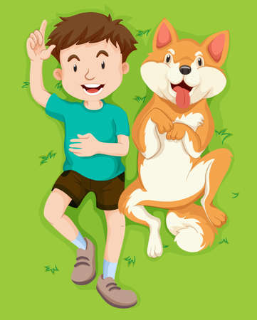 Boy and dog on the grass illustration