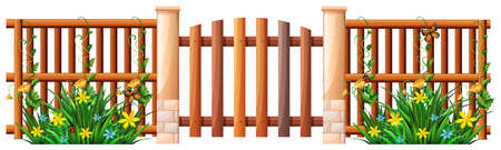 wooden fence: Wooden fence and gate illustration
