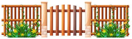 Houten hek en hek illustratie