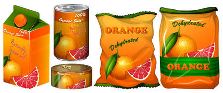 dehydrated: Dehydrated orange in different packaging illustration Illustration