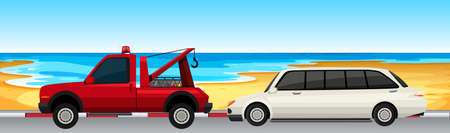 Car and truck parked on the road illustration