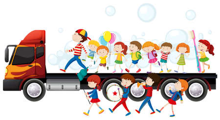 Band and children in parade illustration