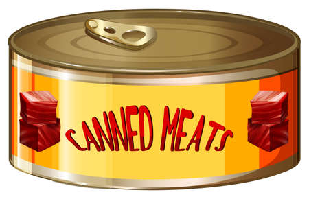 aluminum: Meats in aluminum can illustration
