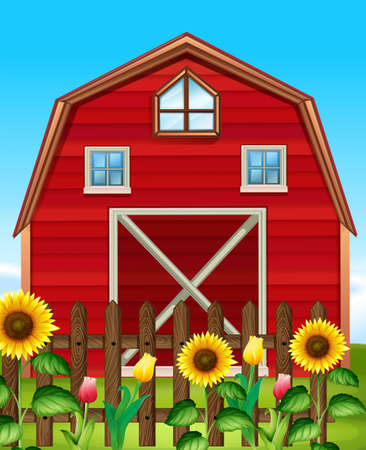 barns: Red barn and sunflower field illustration