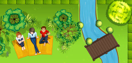 outdoor seating: People hanging out in the park illustration