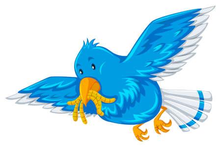 gusanos: Pájaro azul con los gusanos en su ilustración de la boca