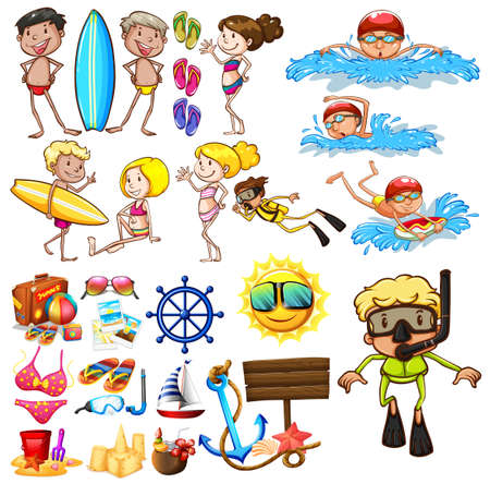 sandles: Summer set with swimmers and equipment illustration