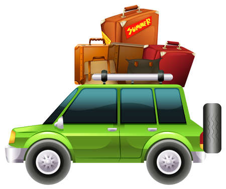 Green car loaded with luggages illustration Illustration