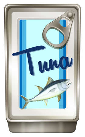 tuna fish: Tuna fish in aluminum can illustration