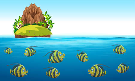 underwater fishes: Scene with fish swimming under the sea illustration