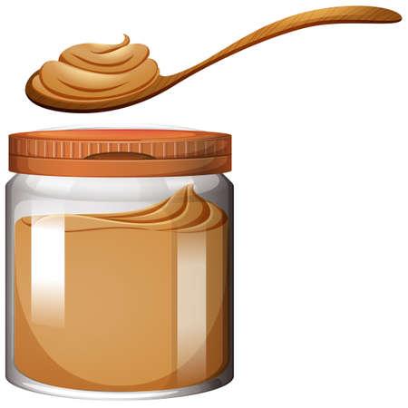 cuchara: La mantequilla de maní en la ilustración frasco de plástico