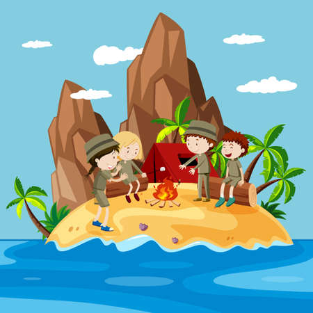 travel destination: Children camping on the island illustration