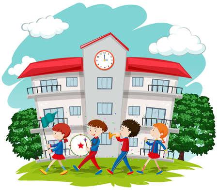 Children in school band at school illustration