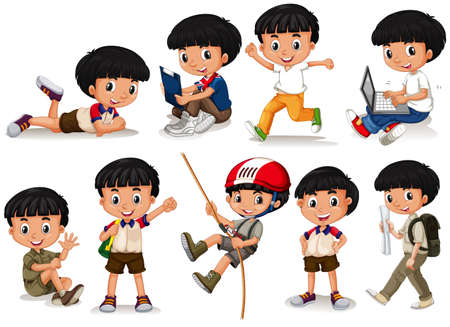 school kids: Boy doing different actions illustration