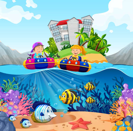 outside: Two kids riding on rubber boats in ocean illustration