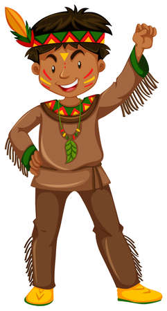 traditional clothes: American indian boy in traditional clothes illustration