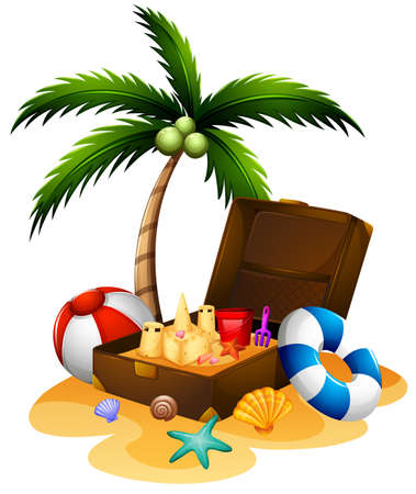 sandcastle: Summer theme with suitcase and sandcastle illustration